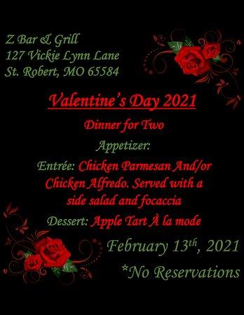 2021 Valentine's Special @ Z-Bar & Grill.