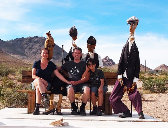 """Circa 2019 @ Goldwell Open Air Museum in Death Valley, NV. The puppets are from Speeltheater Holland Studio installation """"The Beauty of Decay"""". The installation began as a play inspired by the Italian movie 'L'Uomo delle Stelle' by Giuseppe Tornatore."""