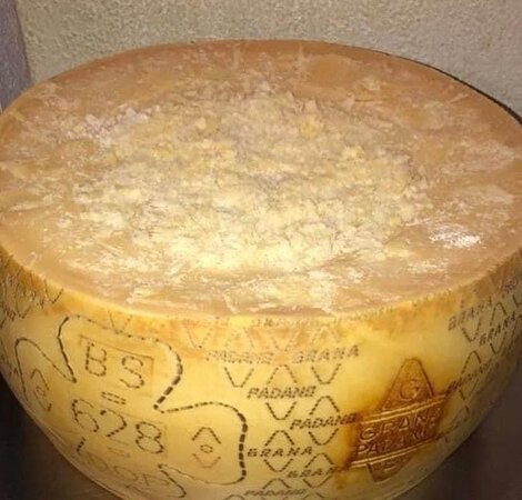 25kg Parmesanlaib hier wird die frische Pasta mit Trüffel zubereitet ein Genuss