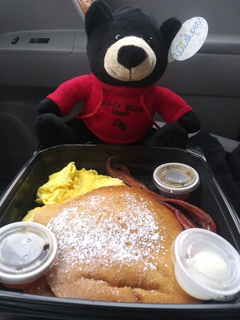 Eating my fav pancakes in the car as Black Bear was still closed for indoor service at this time.  Made a new friend too!