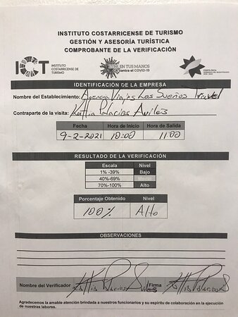 Thank you very much to all our client friends for sharing our achievements! And here I leave you with all my heart the certificate of the qualification obtained for the management of the covid_2019 health protocols for our agency lossuenostravel.com issued by COSTA RICA TOURIST CHAMBER