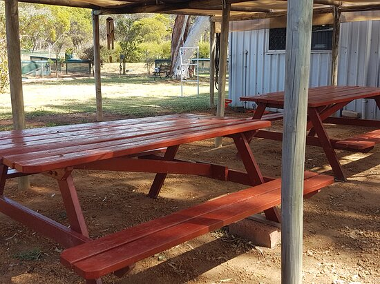 Nice shady BBQ area with extra tables and chairs available. Free BBQ