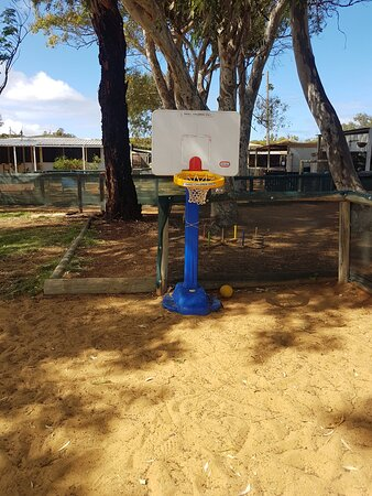 Sand pit area for the little ones with basket ball, totem tennis and many more activities