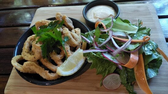 Fresh calamari perfectly cooked and a little salad