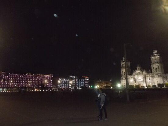 """The """"night view"""" of the Plaza's west side & the Cathedral on the north side"""
