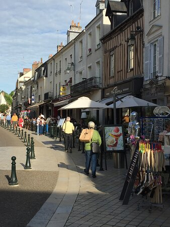 Restaurant row in front of the Amboise Castle
