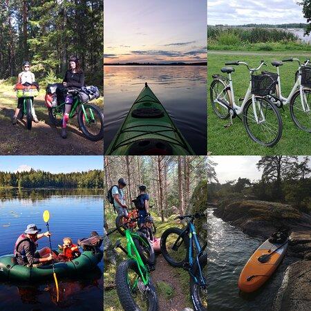 Experitur hyr ut fatbikes, mountainbikes, standardcyklar, kajaker, packrafts, SUP-brädor, tält, sovsäckar och mycket mer. Vi vill att det ska bli enkelt för dig att prova på nya aktiviteter och uppleva vår vackra natur!
