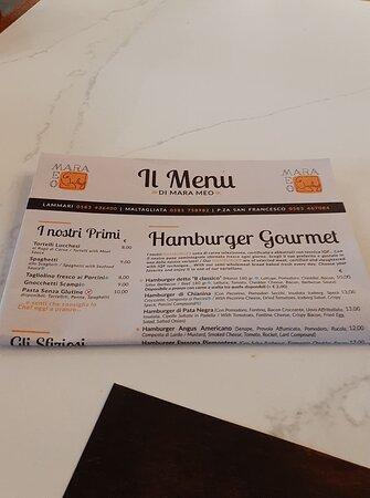 Coreglia Antelminelli, إيطاليا: menu 