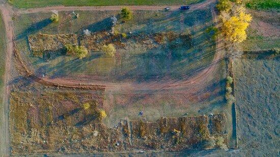 Bird's eye view of the Crossings Campground in Belfield, North Dakota