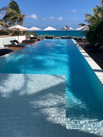 shallow side of lap pool:  ankle deep w/stairs into the deeper water