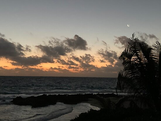 beautiful sunrise (and moon) from the end of pool deck one morning