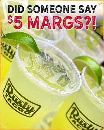 Double down on the cold with a frozen margarita, celebrate National Margarita DayS with us this Friday-Monday. We dare you.😜   ✔️5.00 Rusty Margarita  ✔️Introducing our ALL NEW Rusty Bandito ✔️Limited Edition Rusty Margarita Cups (While Supplies Last)