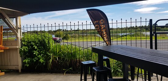 Garden bar at Matata hotel, looking towards the main road...Plenty of Outside Secure locked parking out the back.