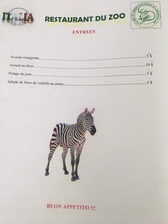 Restaurant du zoo, menu et heures d'ouverture