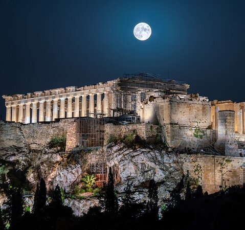 Full moon over Acropolis Athens