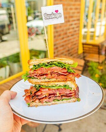 Loaded BLT: six slices of smoked bacon, organic green leaf, organic tomatoes, mustard aioli, sourdough