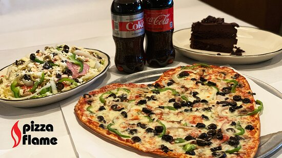 Valentine's Day heart-shaped pizza, antipasto supreme salad, slice of our chocolate lovin' spoon cake & ice cold Coca Cola products.