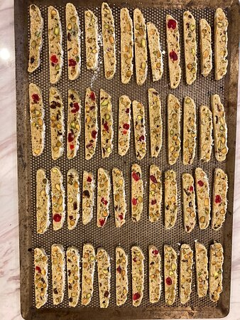 The cookie corner at Passion restaurant and bakery Kathu Phuket - Pistachio, cherry and cranberry biscotti / Chocolate fudge crinkle cookies, Ricciarelli Amaretti cookies, Sable Breton, Oatmeal raisin cookies, Long thread coconut macaroons - all home made fresh in our restaurant and bakery #cookies #cakes #catering #phuketfood