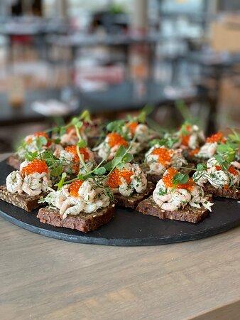 Traditional shrimp salad on rye - Sunday brunch