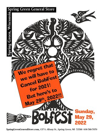 As much as it saddens us, we regret to announce that we are canceling our 2021 Bobfest. Please join us in 2022 on Sunday, May 29! #MusicFestival #Bobfest #SpringGreenWI #SpringGreenGeneralStore #Outdoor #LiveMusic #Festival #SpringGreenWisconsin #Music