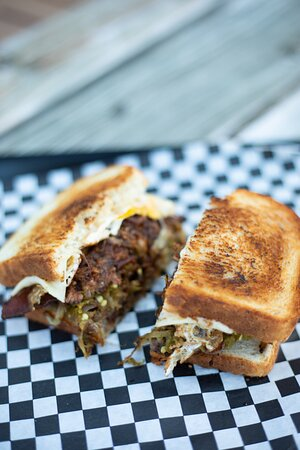 The GODFATHER Sandwich (MOB Boss's own secret sandwich, was a secret off menu item, but no more ... too good!) THE MOB PATTY MELT, TOPPED WITH BACON, FRIED EGG, PULLED PORK, & MOB JALAPEÑOS