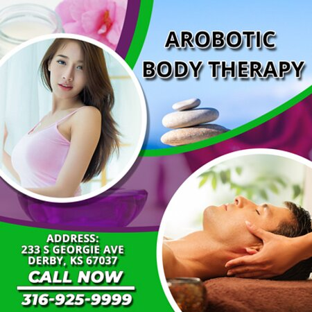Danville, KS: Arobotic Body therapy is an Asian massage spa designed to help you reduce stress, relieve build up chronic pain, and increase the overall quality of your life! We specialize in multiple affordable, customized treatments to meet the needs of a wide variety of clients in a peaceful setting! We are proud to be providing Authentic Asian Massage therapy services in our beloved community of Derby, KS!
