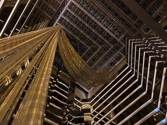 The wonderful loftiness of the Sofitel atrium on level 35.