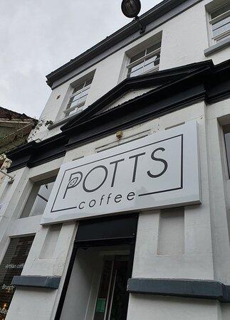 Potts Coffee Cafe on the corner of Fleet Street.