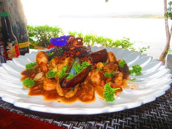 Seafood pasta - LOTS of seafood.
