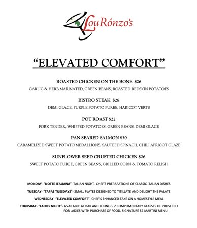 Wednesday Elevated Comfort Menu