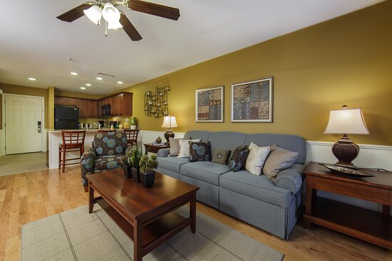 Separate living room with pullout sofa and fully equipped kitchen