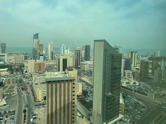 Dasman, Kuwait: View of North and eastern part of Kuwait City with Kuwait Bay beyond