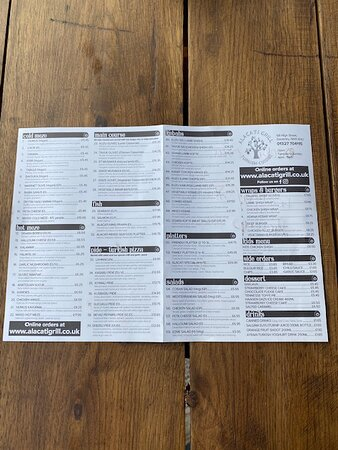 Northamptonshire, UK: Our takeaway menu. The sit in menu has different items but similar