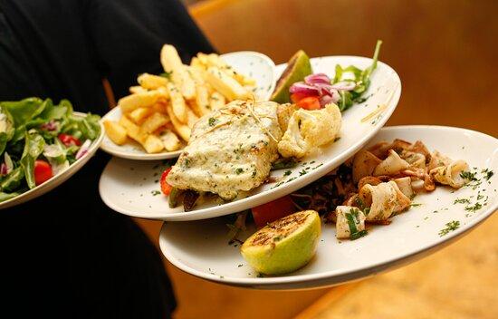 Kingklip with truffle chips, Calamri & Greek Salad