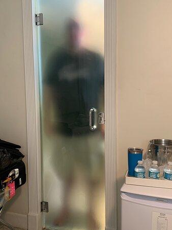my husband through the bathroom door