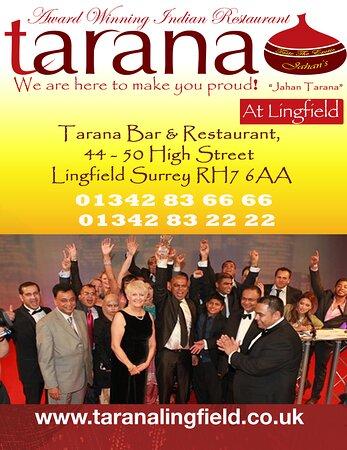 Tarana's unique Multi-award winning Dining Experience in Lingfield Brought to you by Jahan Tarana,
