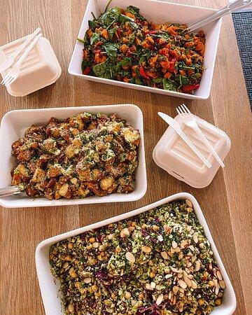 Broccoli & brussel sprout salad  V, GF Kumara & Mexican black bean,  V, GF Potato & bacon salad, GF