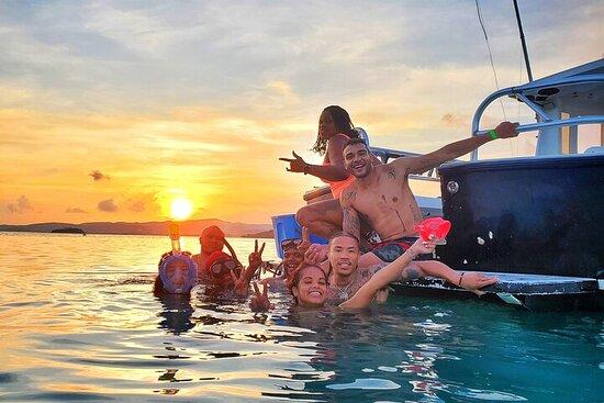 Location de bateau privé à La Parguera, coucher de soleil à Caracoles...