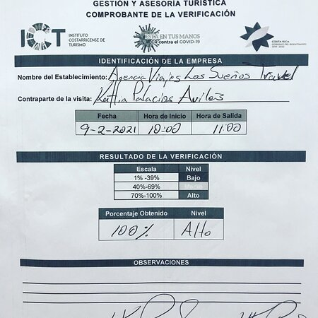 Thank's God !, for this great achievement! The highest score give by  Costa Rica tourist chamber