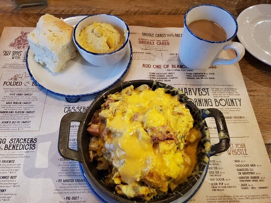 Bill Lewis of Vero Beach, Florida enjoying breakfast at Five Oaks Farm Kitchen in Pigeon Forge, Tennessee.