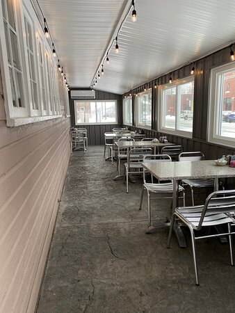 The enclosed, heated patio