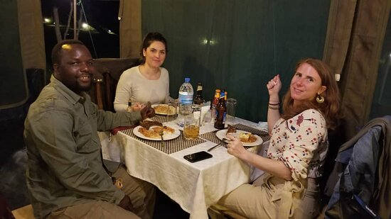 Clients enjoying their amazing cuisine at Serengeti Heritage Camp.
