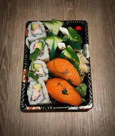 Osaka Sushi Box - Sake- Salmon Nigiri (2 Piece), Cucumber & Cream Cheese (2 Piece),  California Roll (4 Piece).