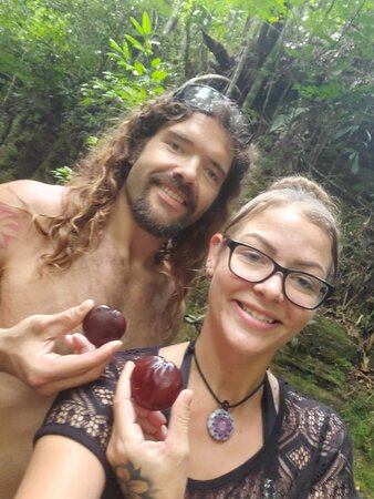 Happy couple on the hike