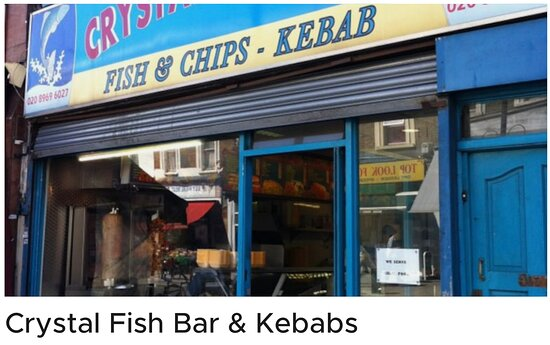 Crystal Fish Bar & Kebabs Maida Vale 407 Harrow Road, London W9 3NF, England  Do not visit or buy anything from UberEats, DeliverRoo or JustEat. The food is disgusting, cold, delivered late, over priced and the the managements are rude.
