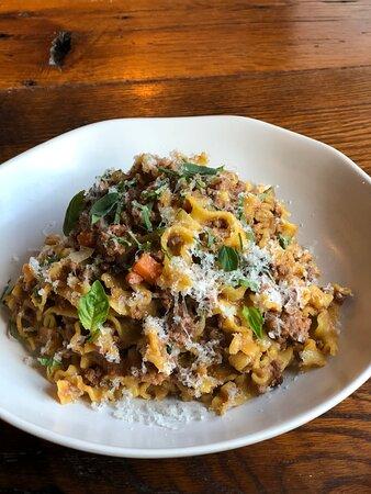 Winchester, MA: ragu bolognese with fresh mafaldine pasta