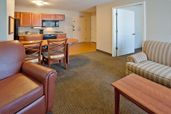 One queen bed, one bedroom suite.  Perfect for extended stays.