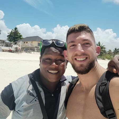 Zanzibar City, Tanzania: my friend and I were having some fun at Paje Beach