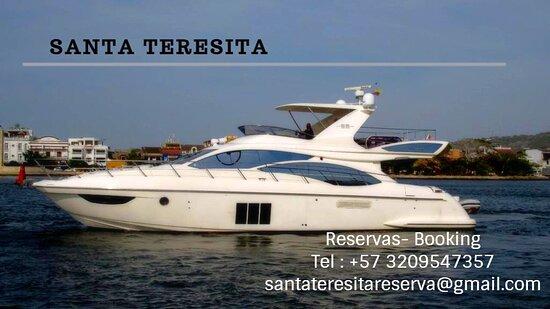 Cartagena, Colombia: Santa Teresita La esencia del espacio, la comodidad & el diseño:  * 58 pies de largo  *3 alc , 2 wc, sala , comedor , terraza primer piso y puente superior.  *Horario : 8:00 am a 5:00 pm   *Servicio de capitán y auxiliar.  Capacidad : 16 personas  Incluye : hielo (4), cervezas (20) agua (30), botella de ron (1)