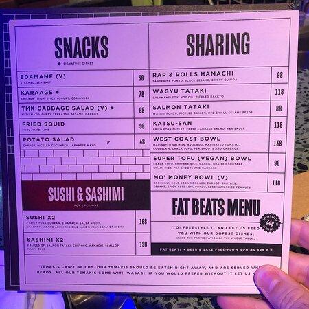 Menu - snacks, sharing and sushi & sashimi